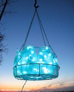 Icy Blue Wedding Mason Jar Chandelier Hanging by treasureagain, $115.50