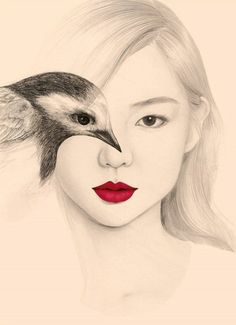Beautiful portrait illustrations by OkArt . The south Korean artist using the effect of double exposure by merging the eye of the model with that of the bird explores harmony between humans and animals. Bird Drawings, Drawing Faces, Cool Drawings, Pencil Drawings, Pencil Art, Art Amour, Wow Art, Portrait Illustration, Art Design