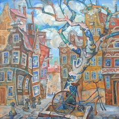 """Tania Kugai , """"In Old Amsterdam"""", 2004, oil/canvas"""
