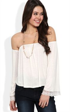 Deb Shops Off the Shoulder Top with #Crochet Sleeve Detail $14.17