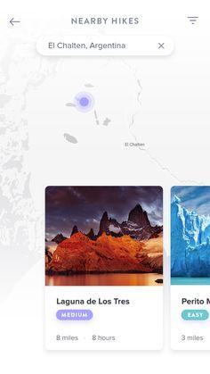 Nearby hikes Ui Design Mobile, App Ui Design, Mobile Mockup, Mobile Web, Ios, Digital, Building, Cards, Buildings