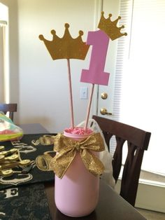 DIY Pink and Gold Princess Party centerpiece by Alejandra Gonzalez