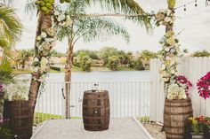 Hydrangea-Accented Palm Tree Wedding Arch