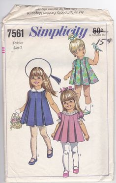 60s Adorable Toddler Girls Sun Party Dress Inverted Pleats Penny Brite Size 2 Breast 21 Vintage Sewing Pattern Simplicity 7561 Complete