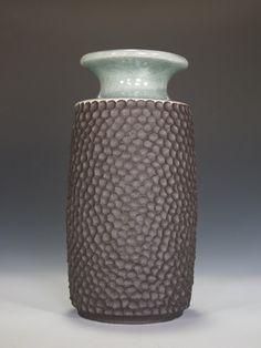 Dark Stoneware Vase with Hand-Carved Texture & Celadon Glaze