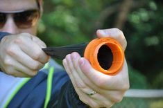 Pocket Shot Slingshot -  The Pocket Shot reimagines a projectile launcher as a cone-shaped latex pouch secured to a fiber-reinforced composite ring. Simply drop your ammo into the pouch stretch it back and let it fly! Small enough to stow in a bugout bag or slip in a pocket - Check it out here: https://geekify.me/product/Pocket-Shot-Slingshot #geekifyme