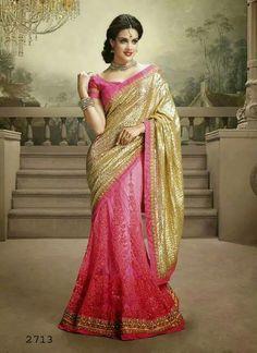 Pink & gold lengha