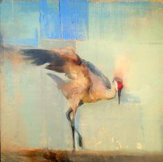 """Sky"" 30 x 30 oil on canvas. By Kathryn Mapes Turner. #birdsinart #sandhillcranes"