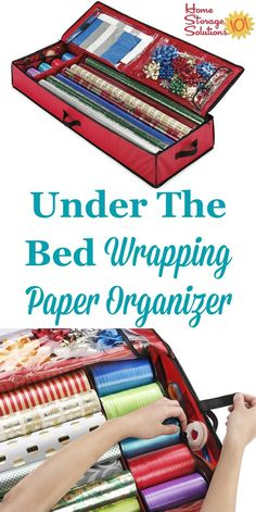This under the bed wrapping paper organizer keeps your gift wrap and wrapping accessories easily accessible without taking up precious closet space featured on Home Storage Solutions 101 Holiday Storage, Christmas Storage, Christmas Gifts, Wrapping Paper Organization, Organizing Ideas, Kitchen Organization, Teen Bedroom Crafts, New Crafts, Paper Crafts