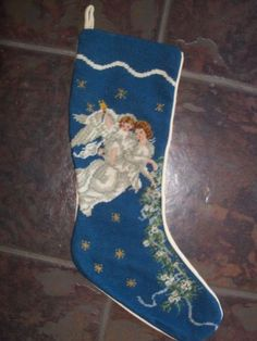 Christmas Stocking Victorian Tapestry Needlepoint Dog Snowman Angels Poinsettia | eBay