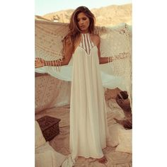 ACACIA Moscow Dress ❤ liked on Polyvore featuring dresses, maxi dresses, beach maxi dress, maxi length dresses, brown maxi dress and brown dress