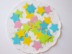 Aqua Blue Lime Pink & Yellow Star Confetti 1 by LilpawsPaperArt, $4.99