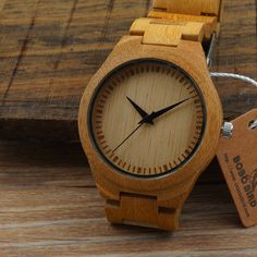 100% Bamboo wooden watch with bamboo wood band quartz watches for men women gift in Jewelry & Watches, Watches, Wristwatches | eBay