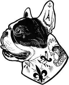 'Tattooed French Bulldog' Sticker by PaperTigressArt French Bulldog Drawing, French Bulldog Mix, French Dogs, French Bulldogs, Tattoo Bulldog, French Bulldog Tattoo, Animal Tattoos, Dog Tattoos, Black Tattoos