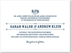 This wedding invitation pairs stylish initials and bold text. The template works well for a variety of reception hosting options.