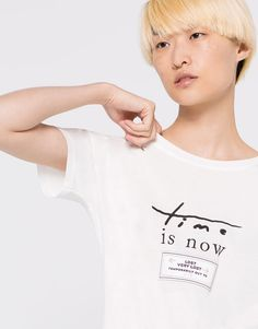 TIME IS NOW PATCH T-SHIRT - T-SHIRTS - WOMAN - PULL&BEAR Albania