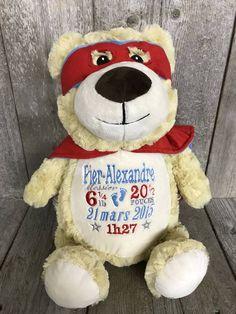 Super Gugus - ourson peluche à broder et personnaliser : réalisation | Broderie Amé Design Teddy Bear, Hero, Toys, Design, Embroidery, Activity Toys, Clearance Toys, Teddy Bears
