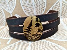 Leather Pendant Bracelet Cuff Choose Print & Color by Hollyhawk