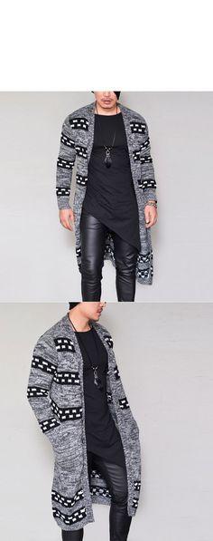 Contrast Pattern Wool Long Jacket-Cardigan 198 - GUYLOOK