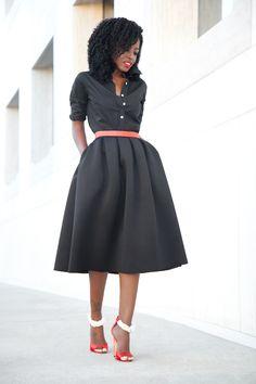 Button Down Shirt + Full Pleated Midi Skirt