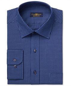 a21c74ded00 Club Room Men s Estate Classic-Fit Wrinkle Resistant Navy Blue Windowpane  Dress Shirt