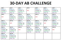 30 Day Ab Challenge Calendar - Same 4 exercises each day, with increasingly challenging numbers of reps & time to sustain