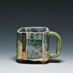 Susan Feagin Small Newspaper Mug- love her pottery Pottery Mugs, Ceramic Pottery, Pottery Ideas, Earthenware, Stoneware, Ceramic Fiber, Pottery Handbuilding, Clay Cup, Cup Art