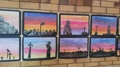 ANZAC Day art. (Watercolour sunset and then black paper silhouette of a memorial or something). Did with 5&6