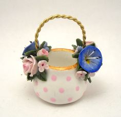 1/12TH scale   romantic floral hand painted basket  BY by 64tnt