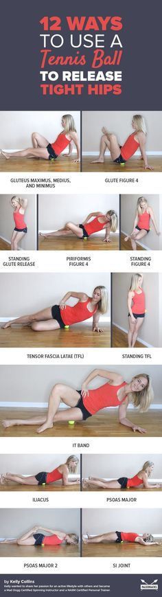 Suffering from sore, tight hips? Here are easy ways to fix the pain using just a tennis ball. Get all the exercises here: http://paleo.co/tennisballhiprelease #tennishacks