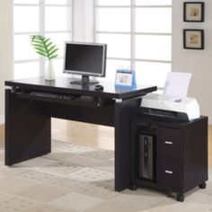 Computer Desk with printer on filing cabinet and pc under desk
