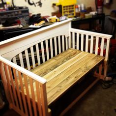 Crib to a bench: 2x6 boards used for seat. 2x4's secured to legs on crib. Legs on crib cut and trimmed down. Bench tested with 475 lbs and not a crack or creak! I ended up painting the whole thing white to seal it for outdoor use.