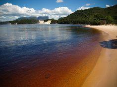 Parque Nacional Canaima ubicado en el estado Bolivar en Venezuela. esta es la playa de la Laguna Canaima. Una de las cosas que más llama la atención es el color del agua, que es completamente rojiza, debido a la gran cantidad de minerales que contiene. Así mismo la arena tiene un suave color rosado, por efecto del cuarzo.
