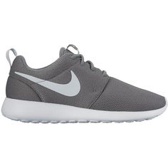 Nike Roshe One ($61) ❤ liked on Polyvore featuring shoes, lightweight shoes, gray shoes, white evening shoes, special occasion shoes and grey evening shoes