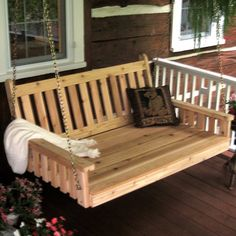 A & L Furniture Traditional English Cedar Swing Bed - Porch Swings at Porch Swings