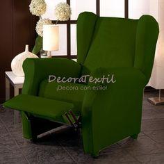 Funda Sillón Relax Verde Botella TUNEZ, compuestas por 4 piezas, medidas estándar de 70 a 110 cm, tejido elástico, fundasadaptables a cualquier sillón relax.