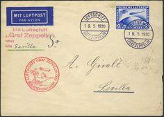 Germany, German Empire, Zeppelinpost 19.05.1930, Karte von der Südamerikafahrt, Bordpost bis Sevilla, mit 2 Rm.-SAF frankiert (Sieger-Nr.57 A) (Mi.-Nr.DR 438 EF/Mi.EUR 500,--). Price Estimate (8/2016): 120 EUR. Unsold.