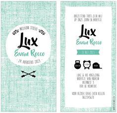 www.hetuilennestje.nl geboortekaartje Lux: scandinavisch, plain, wit, zwart, blauw, hip, origineel, rechthoekig, jongen, pijlen, indianen. Het Uilennestje - Geboortekaartjes - Zwolle