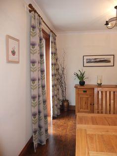 Voyage Fabrics - Purple thistle fabric Voyage Fabric, Fabrics, Dining Room, Curtains, Interiors, Bedroom, Purple, Ideas, Home Decor