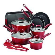 Set Cookware 14 Pcs Non Stick Modern Color Pans Pots Glass Lids Cooking Utensils #ModernKitchen