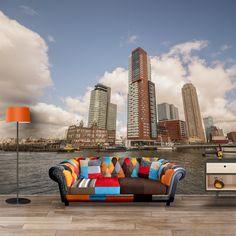 Fotobehang Rotterdamse haven | Maak het jezelf eenvoudig en bestel fotobehang voorzien van een lijmlaag bij YouPri om zo gemakkelijk jouw woonruimte een nieuwe stijl te geven. Voor het behangen heb je alleen water nodig!   #behang #fotobehang #print #opdruk #afbeelding #diy #behangen #stad #haven #rotterdam #rotterdams #wolkenkrabber #holland #nederland