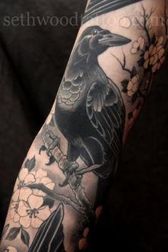 Raven Tattoo on Sleeve - 60+ Mysterious Raven Tattoos  <3 <3