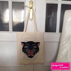 Tote bag Tattoo Panther de la boutique Seasonfall sur Etsy #tattoo #oldschool #tattooflash #totebag #panthertattoo #panther