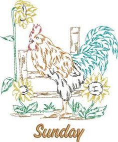 Days of the Week Roosters (KKR148) Embroidery Design Collection by Kinship Kreations