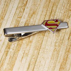 superman tie clip superhero bar clasp by CuffReations on Etsy, $14.79