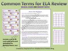 Common ELA Vocabulary Review Game Pack from Middle School Matters on TeachersNotebook.com (17 pages)  - Two games to practice with key terms that  will make understanding and analyzing reading and writing that much easier.