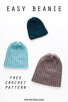 Looking for a simple crochet hat pattern? This modern crochet beanie uses basic stitches and follows an easy 2 row repeat pattern. Learn how to crochet a pom pom beanie with the step-by-step video tutorial and free pattern that ranges from baby, child to adult sizes! #freecrochetbeaniepattern #fallcrochet #beginnercrochet #easycrochetbeanie Crochet Mens Hat Pattern, Beanie Pattern Free, Crochet Blanket Patterns, Crochet Stitches, Crochet Hat For Men, Easy Crochet Baby Hat, Crochet Beanie Hat Free Pattern, Mens Crochet Beanie, Crochet Hat Sizing