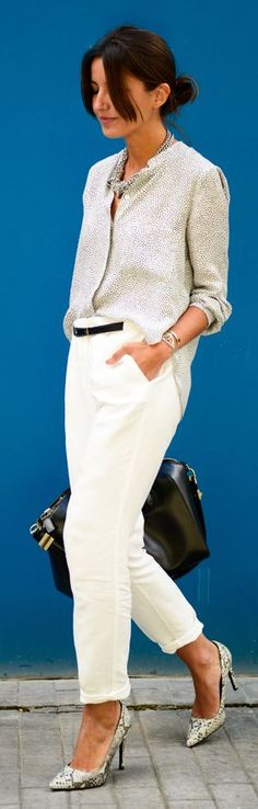 #officewear #streetstyle | Zara white dotted button down shirt over white cropped trousers and snakeskin pumps