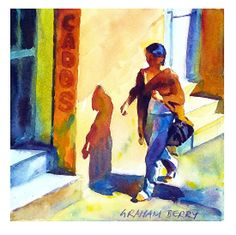 """Walking in the sun by Graham Berry Watercolor ~ 8"""" x 8"""""""