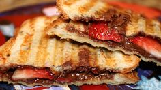 Dessert Panini - Ree Drummond, The Pioneer Woman. She also makes one with raisin bread ,pb, n banana